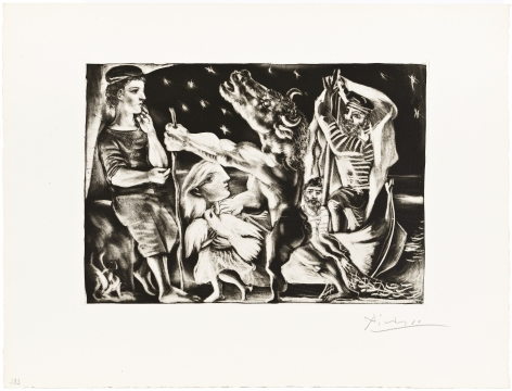 Pablo Picasso (1881 – 1973)  MINOTAURE AVEUGLE GUIDÉ PAR UNE FILETTE DANS LA NUIT, 1934  From the deluxe edition of the Suite Vollard