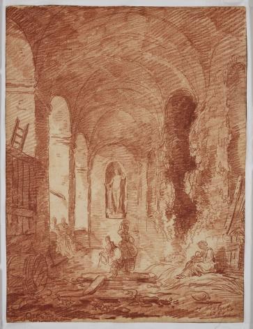 HUBERT ROBERT Lavandières à la nymphée de la Villa Aldobrandini à Frascati, 1761Red chalk