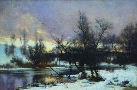 HUGH BOLTON JONES (American 1848-1927)  Winter Sunset Landscape, c. 1880  Oil on canvas