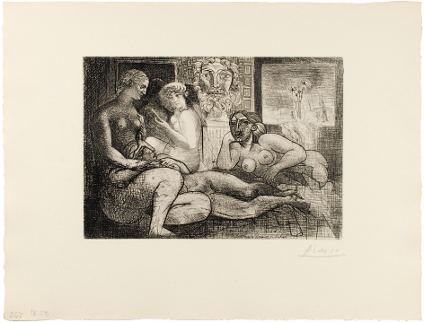 Pablo Picasso (1881 – 1973)  QUATRE FEMMES NUES ET TÊTE SCULPTÉE, 1934  From the deluxe edition of the Suite Vollard