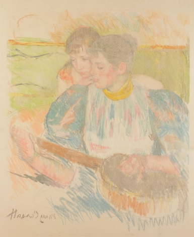 Mary Cassatt (1844 — 1926)  THE BANJO LESSON, 1894  Counterproof (pastel transfer)