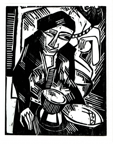 KARL SCHMIDT-ROTTLUFF  (1884-1976)  Melancholie, 1914  Woodcut