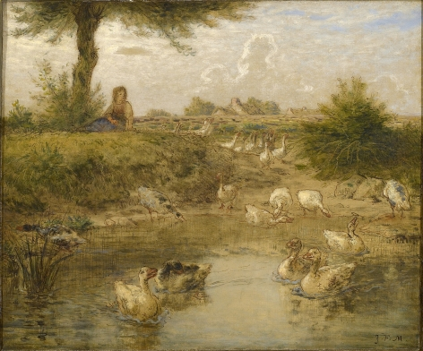 JEAN FRANÇOIS MILLET  French 1814-1875  The Goose Girl (La Petite Gardeuse d'Oise)  ca.1867-1870