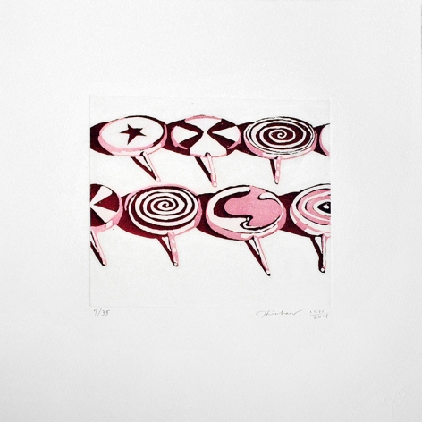 Wayne Thiebaud Little Red Suckers 1971/2014 Aquatint etching printed in red