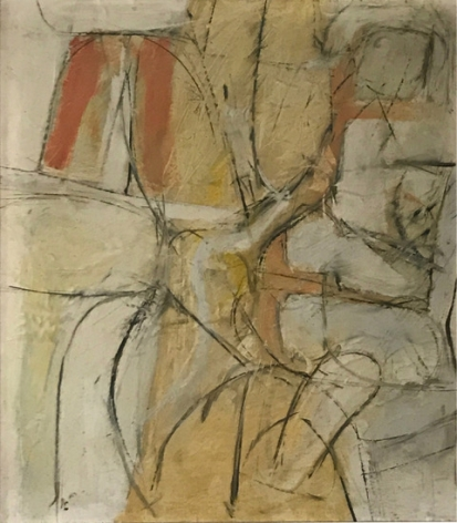 Jack Tworkov 1900-1982  House of the Sun Series, Summer 1952, 1952 Oil and collage on paper laid down on board