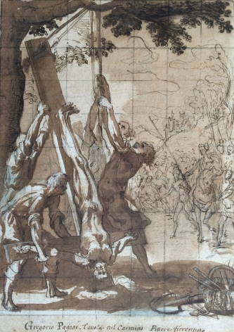 Gregorio Pagani (Florence 1559 -1605) Martyrdom of St. Peter Pen and brown ink and wash over black chalk, heightened with white gouache, squared in black chalk