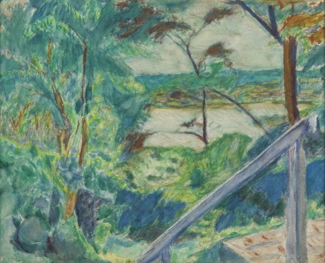 Pierre Bonnard (French, 1867-1947)  La Roulotte at Vernonnet, c. 1930  Watercolor and pencil on paper, on canvas