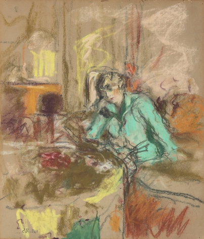 Edouard Vuillard ( French, 1868 – 1940)  Gabrielle Jonas on the Telephone, 1927  Pastel on paper