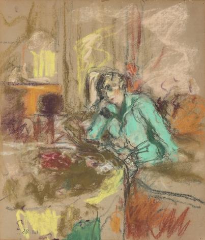 Edouard Vuillard ( French, 1868 – 1940)  Gabrielle Jonas on the Telephone, 1927  Pastel on paper