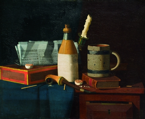 JOHN FREDERICK PETO (American 1854-1907)  Still Life with Open Drawer ,1887  Oil on canvas
