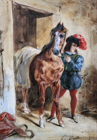FERDINAND-VICTOR-EUGÈNE DELACROIX Jeune page et son cheval Watercolor over black chalk, heightened with gouache