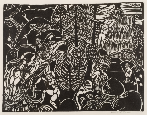 WILLIAM ZORACH  (1887-1966)  Mountain Stream, 1916  Linoleum-cut on off-white thin Japanese paper