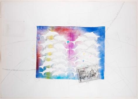 Delfini, 1988 Mixed Media On Paper