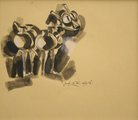 K. Laxma Goud CERAMIC SERIES (101) 1983 Watercolor, ink on paper 7 x 8 in.