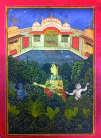 India, Mugul Opaque watercolor heightened with gold on paper 18th Century 8 x 5 in.