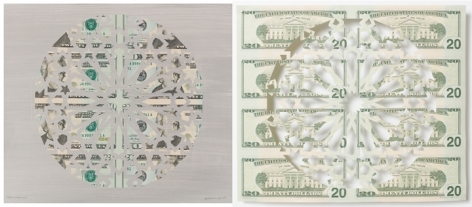 Abdullah M. I. Syed Divine Structure: Hexakaideca (Diptych) 2017 Hand-cut U.S. $20 banknote sheet and banknote collage with acrylic on wasli 10.25 x 24.5 in.
