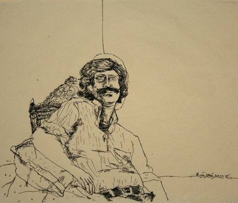 Laxma Goud UNTITLED (SELF PORTRAIT) 1979 Ink on paper 9 x 11 in.  SOLD