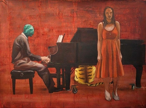 G.R. Iranna MAKE SURE YOU ARE SINGING 2007 Acrylic on tarpaulin 66 x 90 in.  SOLD