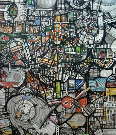 Kazi Salahuddin Ahmed SHEER CHAOS 20 2012 Acrylic and newspaper on canvas 65 x 55 in.