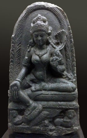 Tara India, Pala Dynasty Black stone 10th - 11th Century Height: 24.5 in.
