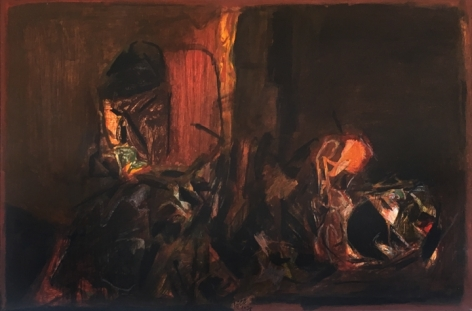S.H Raza Untitiled (La Terre) 1978 Oil on canvas 21.5 x 31.5 in.