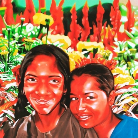 Binoy Varghese REFUGEES / THEIR OWN LANDS - VIII 2009 Acrylic on canvas 60 x 60 in.