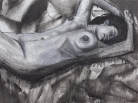 Sharmistha Ray NUDE 4 2013 Charcoal and ink on canvas 12 x 16 in.