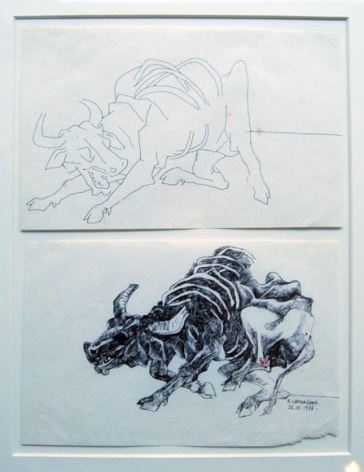 Laxma Goud UNTITLED (DIPTYCH TWO DYING BULLS) 1974 Ink on paper 5.5 x 9.5 in.