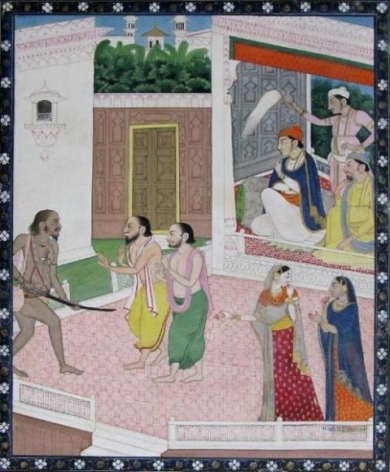 Courtiers Subduing Kapalika Northern India, Himachal Pradesh, Mandi, Sikh School c. 1820-40 Opaque watercolour and gold on wasli 7.75 x 9.25 in.