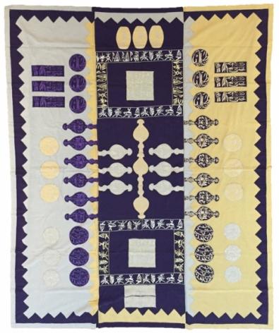 Rachid Koraichi Les Ancestres Lies Aux Etoiles Silk, gold threads, silver threads and silk threads 116 x 93.5 in.