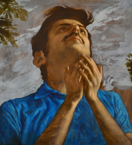 Salman Toor THE BELIEVER WITH MUSTACHE 2013 Oil on linen 29 x 27 in.