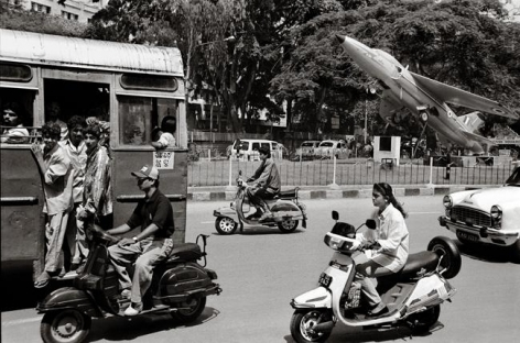 Raghu Rai Fighter Plane in City Traffic, Bangalore Edition of 10 2003 Digital scan of photographic negative on archival paper 18 x 27 in.