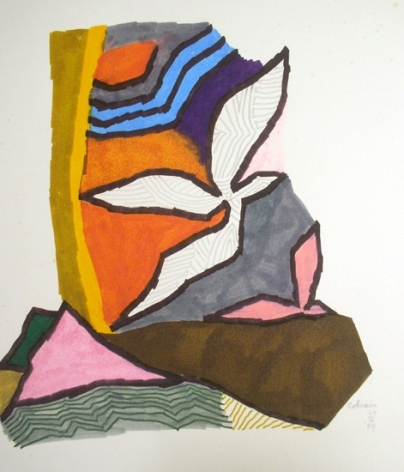 M.F. Husain BIRD SERIES 4 - COLRAIN 1980 Marker on board 14 x 11 in.  SOLD