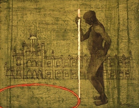 G.R. Iranna UNTITLED (MAN WITH WALKING STICK) 1999 Mixed Media on canvas 56 x 70 in.