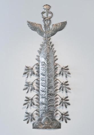 Adeela Suleman Untitled 1 (Caduceus; ed. 1 of 3) 2011 Stainless steel 110 x 42 in. Photo: Goswin Schwendinger
