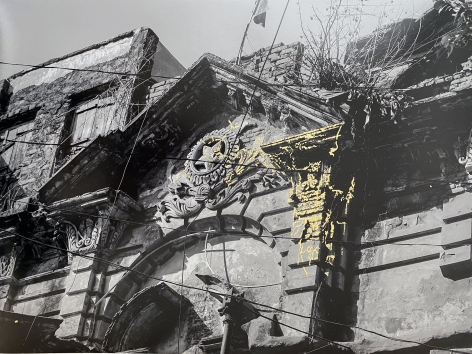 Najmun Nahar Keya   Kintsugi Dhaka (9)  Photograph on archival paper, gold leaf, archival glue  17 x 13 in.  2019