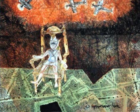 Shyamal Dutta Ray THE GENERAL 2002 Mixed media on paper 20.5 x 24 in.