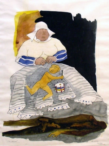 M. F. Husain THE TIN DRUM 1980 Watercolor on paper 19 x 14.5 in.