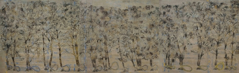 G. R. Iranna  Planted Trees 2015 Acrylic on tarpaulin 66 x 216 in