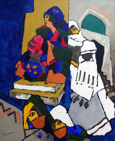 M. F. Husain Women from Yemen 2006 Acrylic on canvas 58.5 x 46 in.