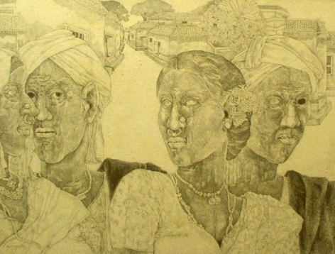 K. Laxma Goud FOUR PEOPLE (VILLAGE IN BACKGROUND) 1983 Pencil on board 16 x 20 in.  SOLD