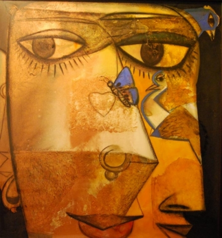 Paresh Maity UNTITLED (FACE WITH BIRDS) 2009 Mixed media on board 60 x 55 in.