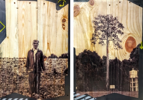 Arunkumar H.G. Vulnerable Guardians Series (Pair 2) 2018 Digital print, floor paint and clear coat on reclaimed wood 20 x 14 in. (Each)