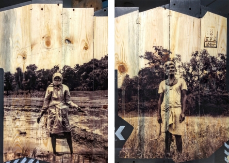 Arunkumar H.G. Vulnerable Guardians Series (Pair 1) 2018 Digital print, floor paint and clear coat on reclaimed wood 20 x 14 in. (Each)