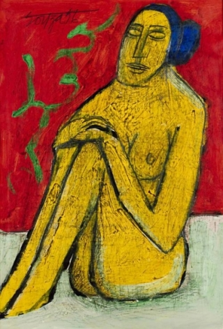 F. N. Souza SEATED FEMALE NUDE 2 1956 Oil and pencil on paper 21.5 x 14.5 in.