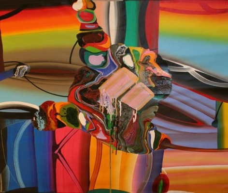 Bose Krishnamachari STRETCHED BODIES 24 2007 Acrylic on canvas 48 x 48 in.