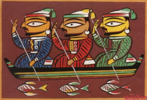 Jamini Roy Untitled (Three Boatmen) Gouache on card 13.5 x 20 in.