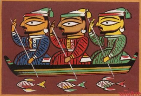 Jamini Roy Untitled (Three Boatmen) Gouache on card 13.5 x 20 in.