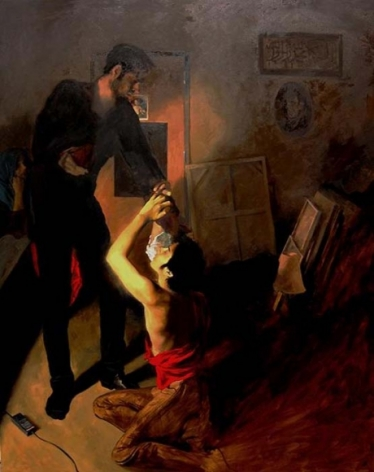 Salman Toor POSING FOR A BAROQUE SCENE IN MY STUDIO 2009 Oil on canvas 60 x 48 in.