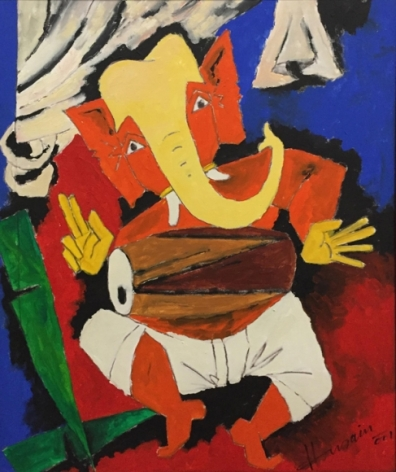M.F. Husain Untitled (Ganesh) 2001 Oil on canvas 35.5 x 29 in.